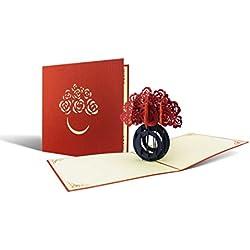Geburtstagskarte für Freundin, Mama oder Oma/Schöne Karte auch zum Muttertag I Glückwunschkarte I Rose I Rosenstrauß I Pop Up Karte F08