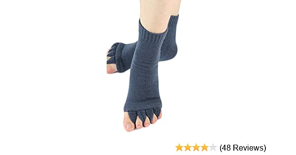 Nutrition World 1 Pair Yoga GYM Massage Five Toe Separator Socks Foot Alignment Pain Relief Half Toe Socks Toe Spacer Stretcher Sports Socks by SamGreatWorld