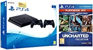 Sony PS4 1TB Slim Console with Additional Dualshock Controller (Black)&Uncharted Collection Hits (