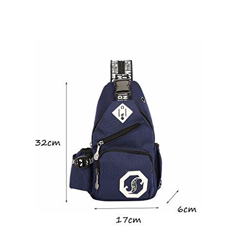 CLOTHES- Traversa obliqua trasversale della spalla Moda libera di svago di modo Uomo LEuropa ed il sacchetto di cassa degli Stati Uniti ( Colore : Rosa ) Blu