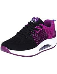 Mujer Zapatillas de Deporte Cuña Zapatos para Correr Plataforma Sneakers  con Cordones Calzado de Malla Air Tacón 5cm Negro Rosa… fd40683f2c5a