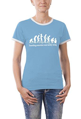 Touchlines Damen Something, Somewhere... Girlie Ringer T-Shirt, skyblue, S, B9199-Skyblue-S,