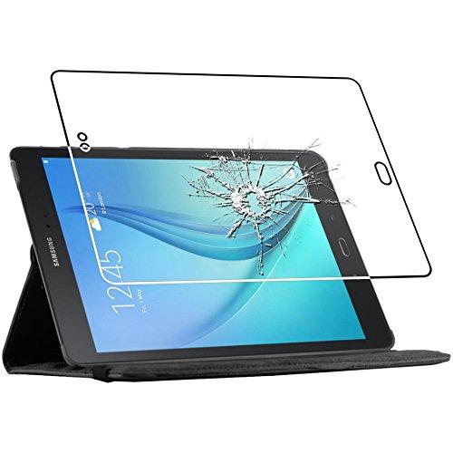 ebestStar - Housse Samsung Galaxy Tab A 9.7 T550 / S Pen P550 - Housse Coque Etui PU cuir Support rotatif 360° + Film protection écran en VERRE Trempé, Couleur Noir [Dimensions PRECISES de votre appareil : 242.5 x 166.8 x 7.5 mm, écran 9.7'']