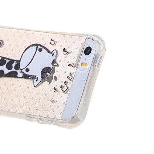 iPhone 5 Hülle,iPhone 5S Tasche,iPhone SE Case - Felfy Ultra Slim Weicher Gel Flexible TPU Case Schutzhülle Silikon Crystal Case Durchsichtig Muster Giraffe Plum Blume Tiger Transparent Silikon Ultrad Nette Giraffe