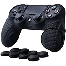 CHINFAI PS4 Funda para cubrir el mando de PS4 con 4 Grips para pulgares, funda antideslizante de silicona, carcasa protectora para mando de Sony PS4 / SLIM / PRO