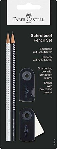 Faber-Castell Grip 2001 218498 – Set de 2 lápices (con 1 borrador y 1 sacapuntas), color negro