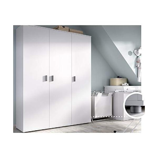 HABITMOBEL Armario Oficina aux. de 3 Puertas + 4 estantes y escobero Color Blanco. Medidas: Alto 190cm. Ancho 116cm…