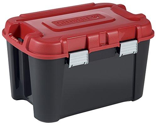 ALLIBERT 229195 Malle de Rangement Totem 60L Plastique, Noir/Rouge, 59,6 x 39,5 x 37 cm