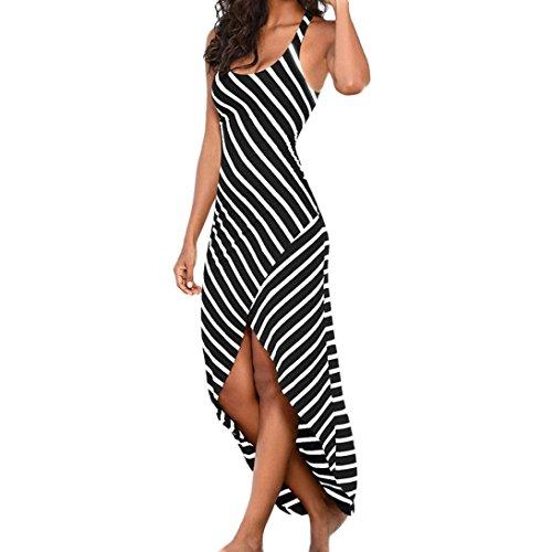 Kleid DELLIN Frauen-beiläufiges Sundress Sleeveless Stripes lösen langes Strand-Kleid (XL, Schwarz)