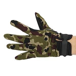 EJY Unisex Militaire Combat Tactique Airsoft Camping Tir Sport Nylon Gants d'entraînement Combat Doigts Complet Camouflage (Camouflage, XL)