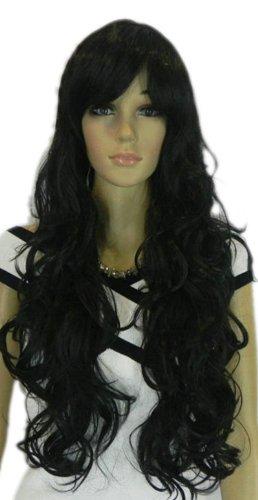 QIYUN.Z Haarteile Damen Perücken Lange Dunkle Lockige Schwarze Wellige Hitzebeständige Faser Synthetische Haar Voller Anime Cosplay Kostüm (Kostüm Lockige Perücke Schwarze)