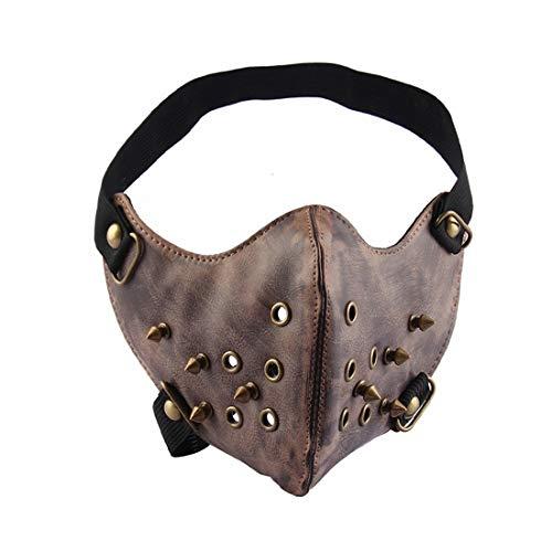 AREDOVL Einfache Motocycle Anti staubmaske halbe Gesicht Gothic niet Steampunk Biker männer Cosplay Airsoft Wind Coole Punk Maskerade Maske (Color : 1)