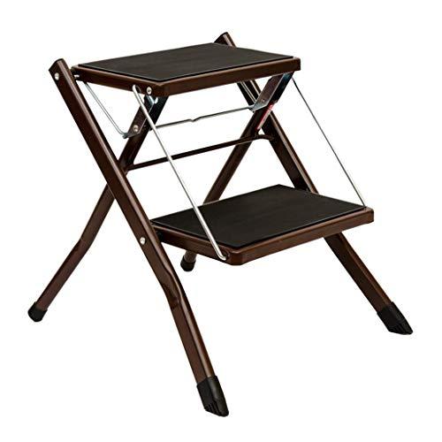 JHUEN Portable Folding 2 Step Ladder Stool Household Kitchen Bathroom Metal Step Stool Anti Slip Mat Tread Heavy Duty,150 kg Capacity - Brown - Step Ladder 6 Tread