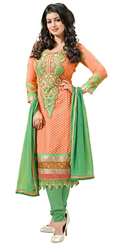 Khushali Fashion Women's Brocade & Georgette Salwar Suit Dress Material(tarzen05_Peach_Free Size)  available at amazon for Rs.1099