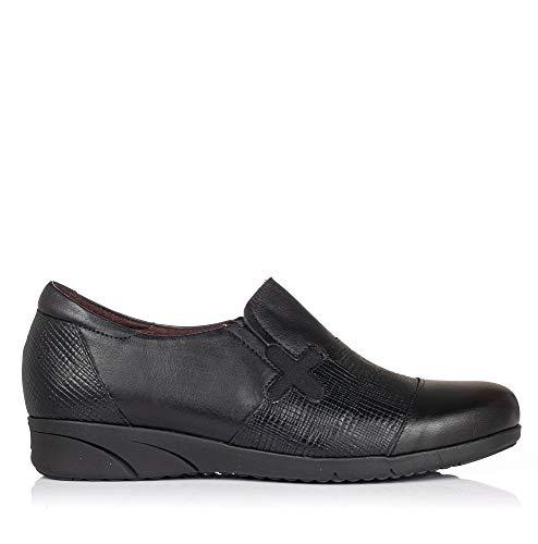 PITILLOS 2973 Zapato Mocasin Combi Piel Mujer Negro