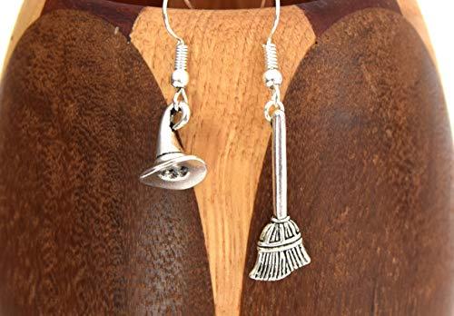 ETHNICFEATHER - Boucles d'oreilles sorcière, chapeau et balai de sorcière argent vieilli, boucles oreilles halloween
