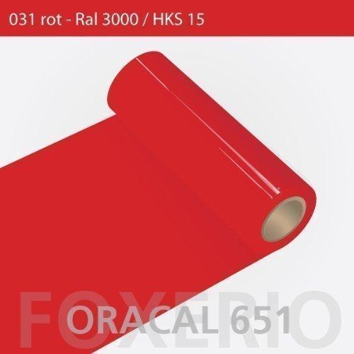 Orafol - Oracal 651 - 31cm Rolle - 5m - Rot / glanz, A43oracal - 651 - 31cm - 07 - kl - Autofolie / Möbelfolie / Küchenfolie
