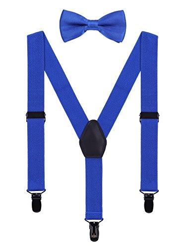 WANYING Kinder Baby Hosenträger Fliege Set 1-5 Jahre Jungen Mädchen 3 Schwarz Clips Y-Form Elastisch Hosenträger für Kleinkind - Königsblau (Blauen Baby Anzug)