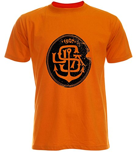 PALLAS Unisex's Anchor USA 1927 Vintage T Shirt Orange