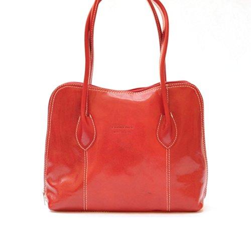 SUPERFLYBAGS Borsa a spalla o a mano in Vera Pelle Liscia e Lucida modello NICE made in Italy rosso