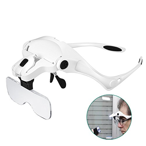 Rightwell Headband Magnifier with 2 LED Lights,Headset Magnifying Glasses Visor Loupe - 1X to 3.5X Zoom with 5 Detachable Lenses Hands Free for Reading,Watch/Circuit Repair,Sewing,Jewelry,Hobby,Crafts