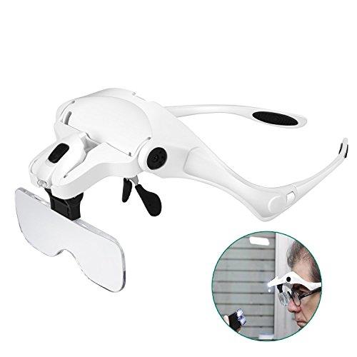 Rightwell Lupenbrille Led Licht Hände Frei Kopfband Lupen Lampe Stirnband Brille Lupen Verstellbare für Hobby,Denest,Elektriker,Juweliere,Nähen,Handwerk,Kosmetik und ältere Menschen-2er LEDs,1.0X, 1.5X, 2.0X, 2.5X, 3.5X Test