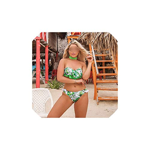 Women High Waist Bikini Swimsuit Push Up Ruffle Bikinis Set Print Bathing Suit Halter Beachwear Biquini Female,Pe19335G1,M - Volle Deckung Print Bikini