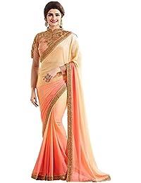 Kaavi Fab Women's Georgette Cream & Peach Thread Work Designer Saree