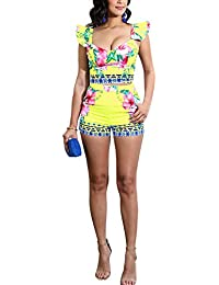 d3feb8967450 Akmipoem Women s Floral Print Two Piece Outfit Ruffle Sleeve Tank Top and  Shorts Set