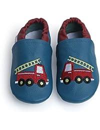 Liya's - Zapatillas de estar por casa de Piel para niño Azul azul oscuro