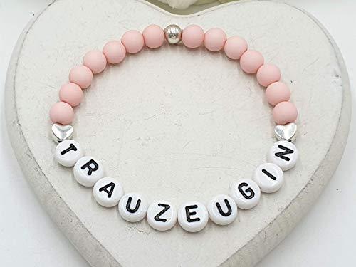Armband Trauzeugin rosa, Geschenk Trauzeuge Hochzeit, Acryl