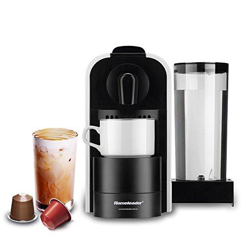 Homeleader Nespresso Kaffeekapselmaschine, Kapselmaschine mit 0.8L Tank, 1400W, 19 bar Pumpendruck, weiß