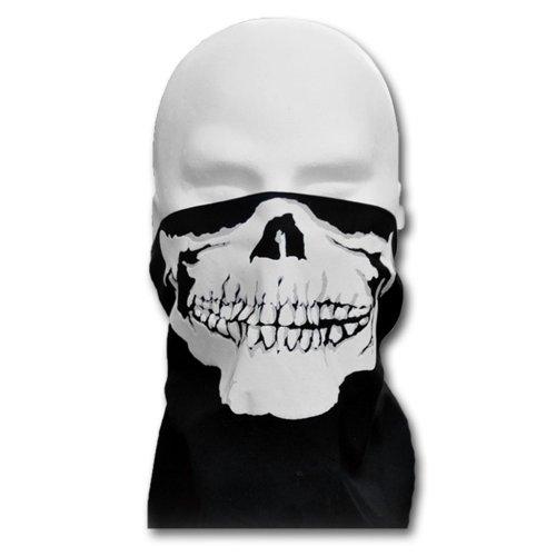 WINDMASK Biker Totenkopf Skull Face Bandana Gesicht Tuch zum Binden, Variante:mit Nasenbügel