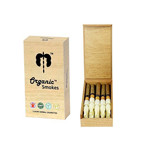 Organic Smokes - GMP Certified, Luxury Herbal Cigarette with Wooden Case and Filter. Ecstacy & Honeyrose Alternative..