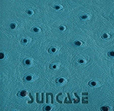 iPhone 7 - Original SunCase® (Backcover) in Straußenleder Look Tasche Schutzhülle Hard Case aus echtem Leder in dunkelbraun + Panzerglas Folie 9H Türkis
