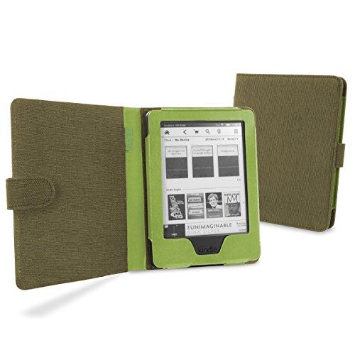 Amazon KindleSchutzhülle Tasche Hülle aus natürlichem Hanf mit Sleep / Wake Smart Funktion (für Kindle 6 zoll 2014 - 7. Generation) - Khaki Grün (Voyage Khaki)