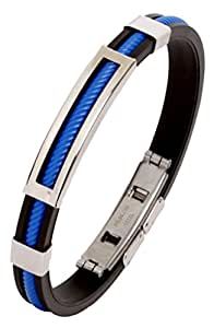 The Jewelbox Biker Navy Blue Silicon Stainless Steel Openable Kada Stylish Bracelet for Men
