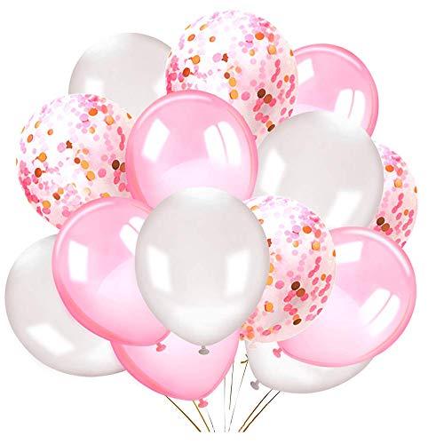 Amasawa 30 Stück 12 Zoll Konfetti Latex Ballons Mit Farbband Für Graduierung, Hochzeiten, Geburtstage, Hawaii Party Dekorationen (Pink)