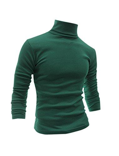 Preisvergleich Produktbild Allegra K 2017 Neu Herren Langarm Rollkragen Pullover Langarmshirt Hoodie Slim fit,  verde oscuro,  Gr. M (UK 38)