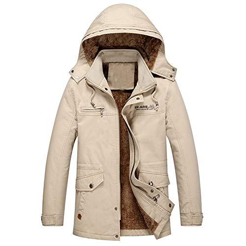 Mymyguoe Herren Winterjacke Herbst Winter Sweatjacke Mittlere Länge Verdicken Samt Baumwolle Jacke Windbreaker Coat Hoodie Kapuzenjacke Wintermantel