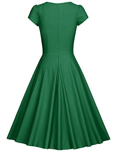 MUXXN 1950s Damen Retro Partykleider Elegant Vintage Swing Kleid Green