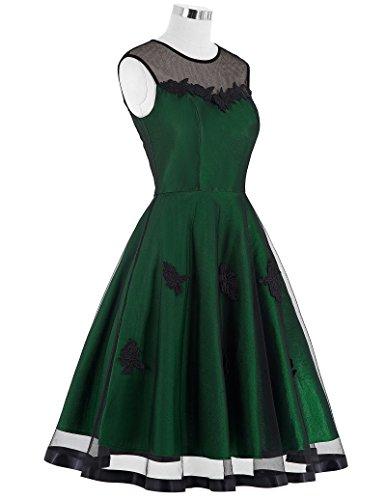 Yafex Damen Vintage Retro 1950er Kleid Festliche Kleid Hepburn Stil ZYB00112 BP112 Gruen