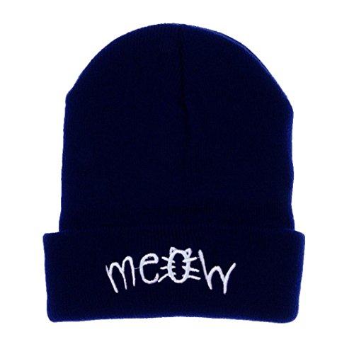 LCLrute Mode Winter Stricken MEOW Beanie Hut Und Hysteresen Männer Und Frauen Hiphop Cap (Marine) (Cashmere Knit Beret)