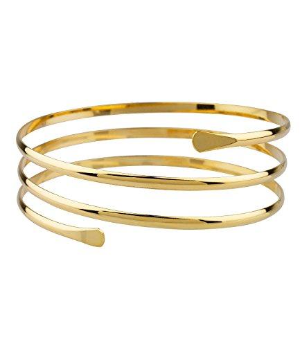 SIX Upperarm-Cuff in Spiralform: Goldfarbener Armreif für den Oberarm, Armspange mit offenen Enden, Stahl, Durchmesser ca. 8.8 cm (460-904) (Goldene Göttin Kostüm)