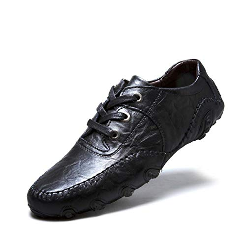 Brand Leisure Leather Shoes Men Hook & Loop Soft Leather Loafers Male Octopus Shoes Hombres Plus Size 46 Black 8890 12.5 -