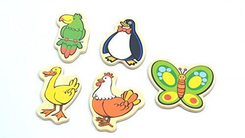 Unbekannt Magnetische Tiere aus Holz / farbig Bedruckte Tiermotive / Zubehör Magnettafel / ca. 5 x 8 cm / für Kinder ab 18 Monaten