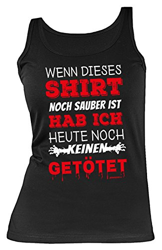 Top - Coole Sprüche/Motive für Halloween : Shirt noch sauber keinen getötet - Damen Trägershirt Sprücheshirt Blut Gr: XL ()