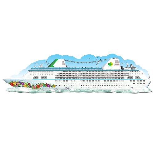 Beistle 50123 1er Pack Jointed Cruise Schiff Party Dekorationen, druckknopfstiel