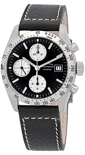Eberhard & Co. Champion Chronograph Automatic Date Stainless Steel 31044.04 Mens Watch with Black Leather Band