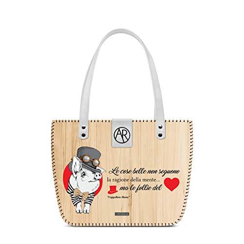 Alviero Rodriguez Tasche Arya Bianca Le cose Belle Cuore Alice Suino Tier Hut Matto Lustige Katze aus Holz und Echtleder